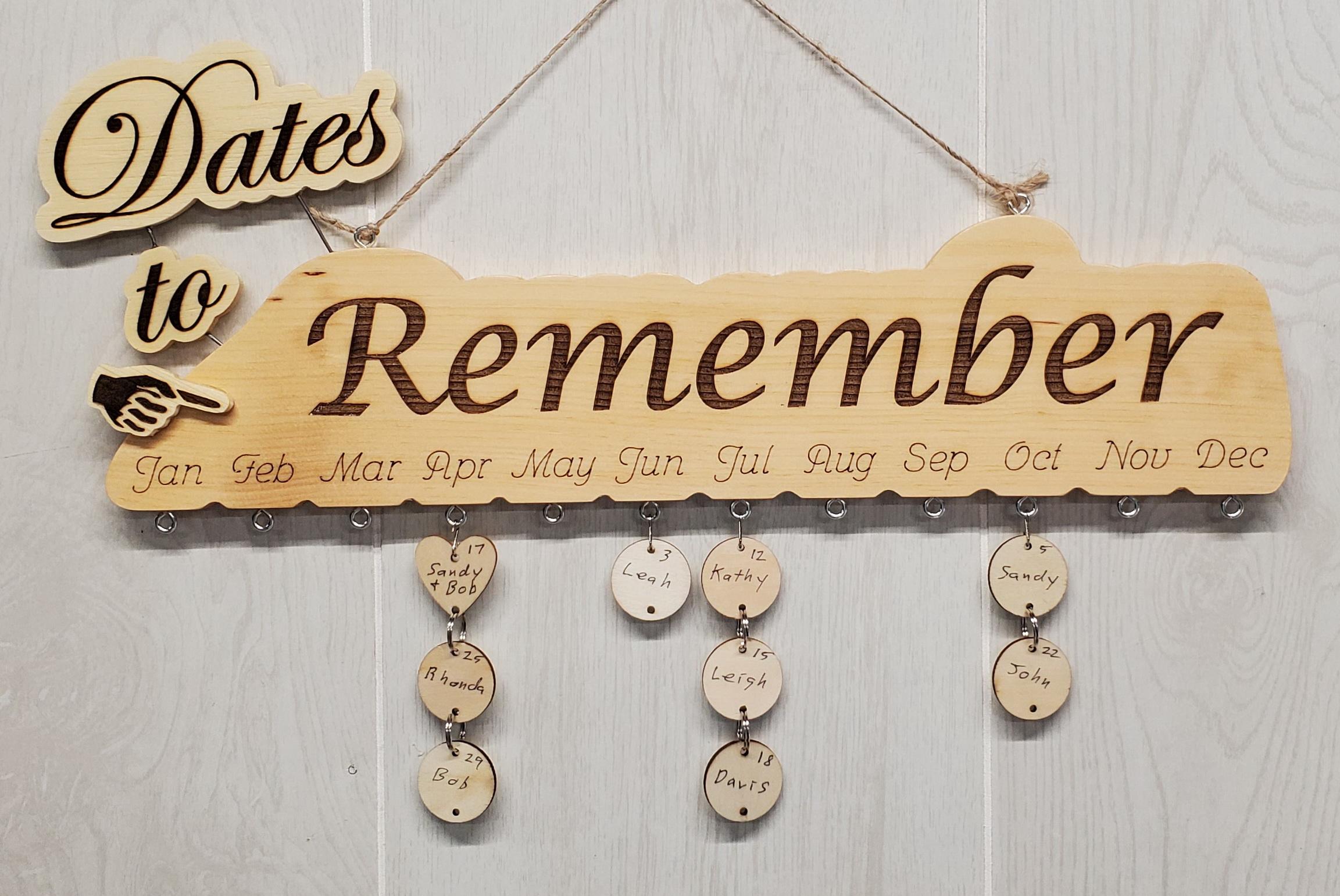 Dates to Remember hanging disk calendar